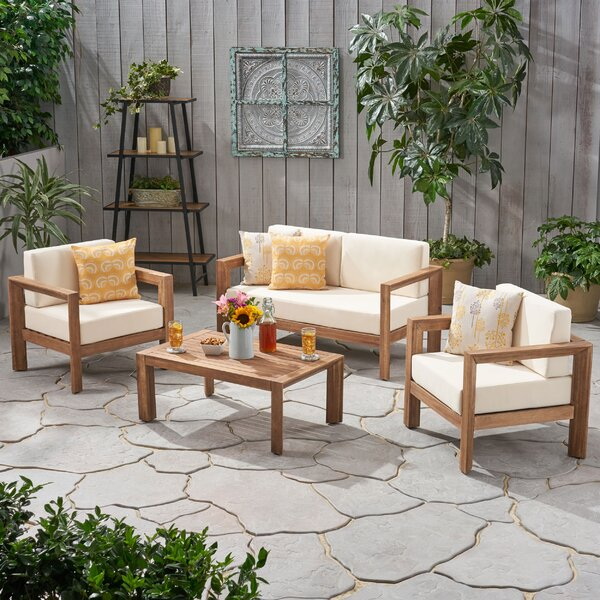 Mabie 4 Piece Sofa Seating Group with Cushions by Latitude Run