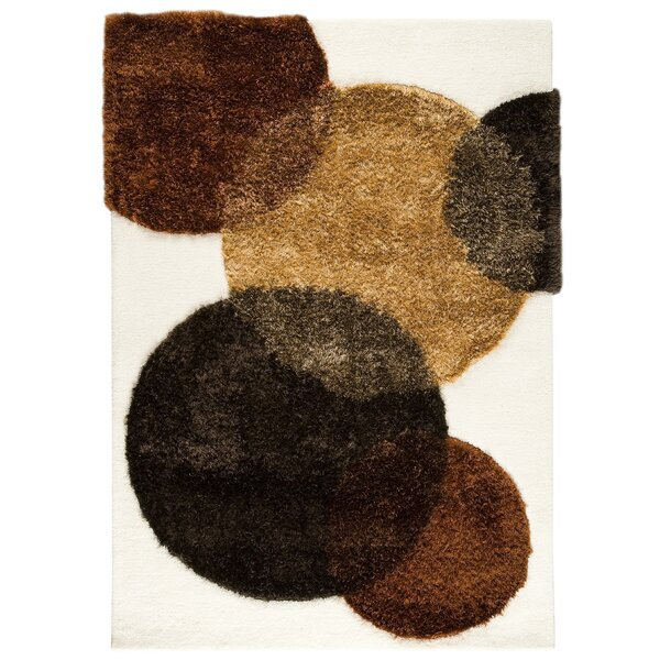 Elton Hand-Tufted White/Brown Area Rug by Hokku Designs