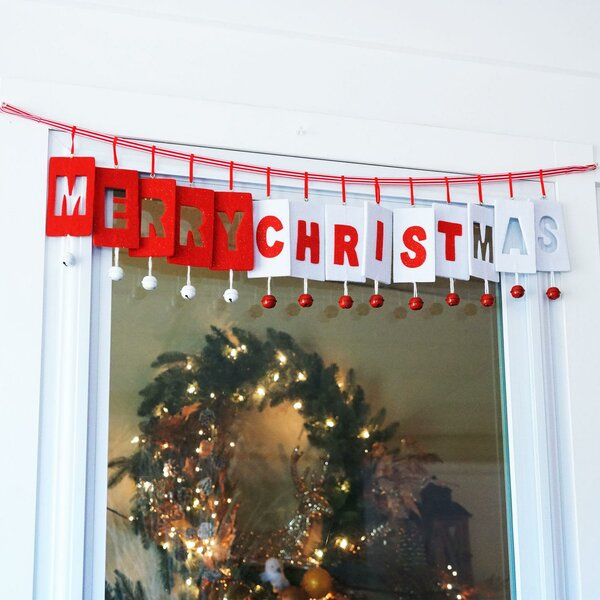 Inspirational Merry-Christ-Mas Jingle Bell Christmas Garland by The Holiday Aisle