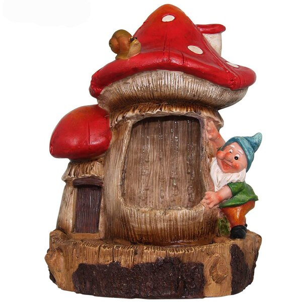 Resin Cute Gnome and Snail Sculptural Fountain by Sintechno