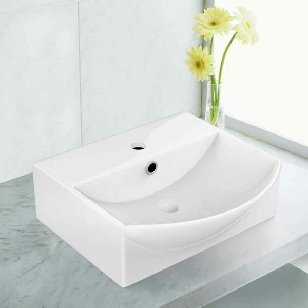 Ceramic 13.75 Bathroom Sink with Faucet and Overflow