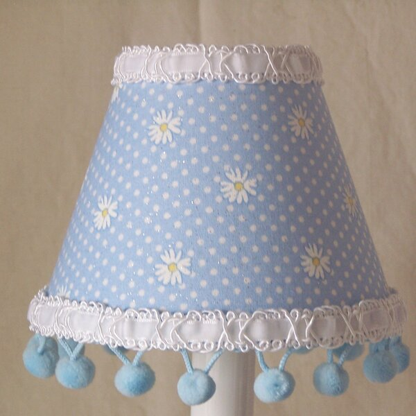 Dipping Daisies 4 H Fabric Empire Candelabra Shade ( Clip On ) in Blue/White