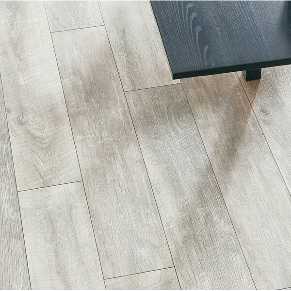 Geneva 9 x 48 x 12mm Oak Laminate Flooring in Gray by Branton Flooring Collection