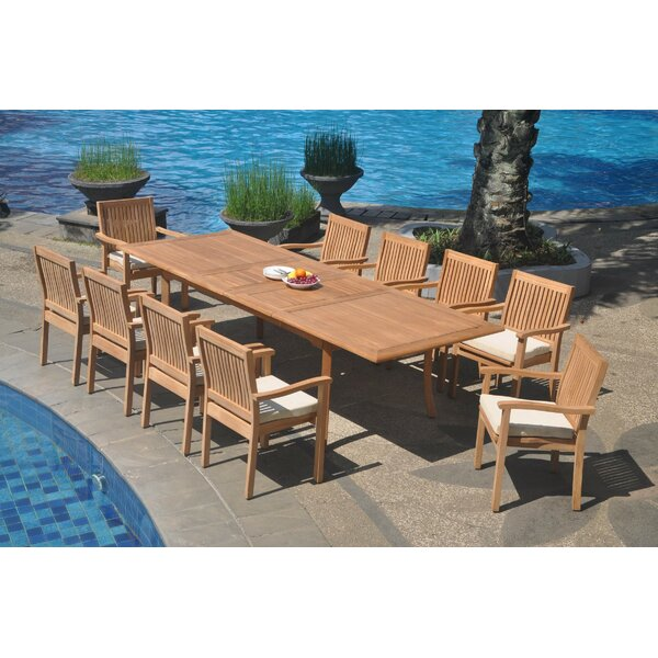 Minnesota 11 Piece Teak Dining Set by Rosecliff Heights