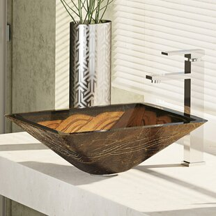 Price comparison Metallic Glass Square Vessel Bathroom Sink With Faucet By René By Elkay