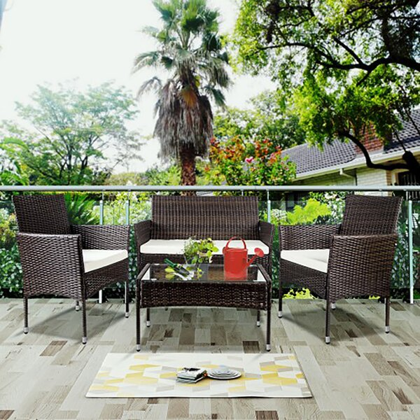 Dante 4 Piece Rattan Sofa Seating Group with Cushions (Set of 4) by Longshore Tides