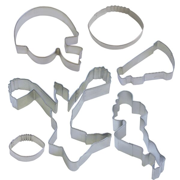 6 Piece Football Cookie Cutter Set by R & M International Corp.
