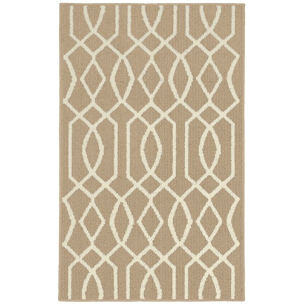 Fretwork Tan/Ivory Area Rug by Garland Rug