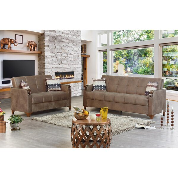 Meaney Leather Sleeper Living Room Set by Latitude Run