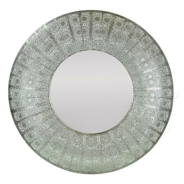 Crosswhite Round Metal Accent Mirror by World Menagerie