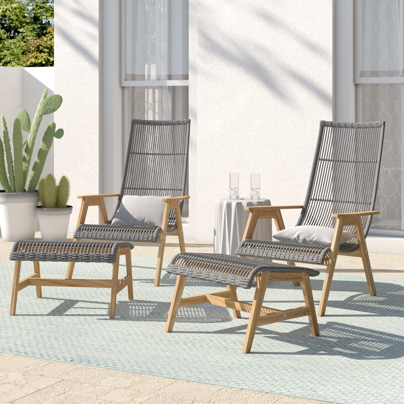Doraville Teak Patio Chair With Cushions And Ottoman Reviews Birch Lane