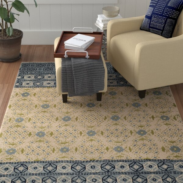 Hodgson Hand-Tufted Ivory/Blue Area Rug by Red Barrel Studio