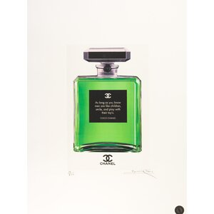 Men and Toys 'Chanel Bottle: Quotes' Framed Fairchild Paris Wall Art by House of Hampton