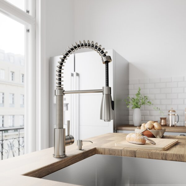 Brant Pull Down Single Handle Kitchen Faucet with Optional Soap Dispenser by VIGO