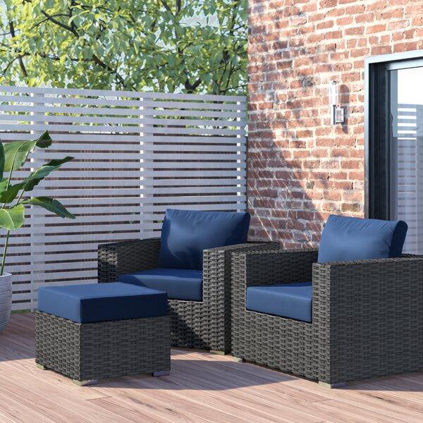 Tripp 3 Piece Rattan Sunbrella Seating Group with Cushions by Brayden Studio