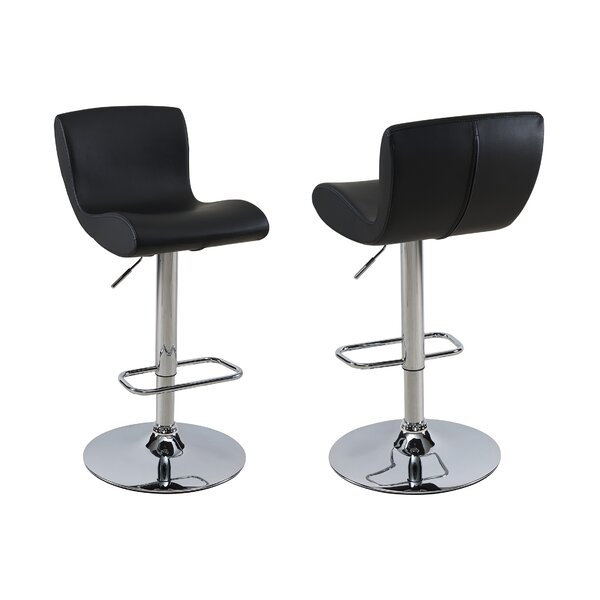 Priscilla Adjustable Height Faux Leather Stool (Set of 2) by Orren Ellis