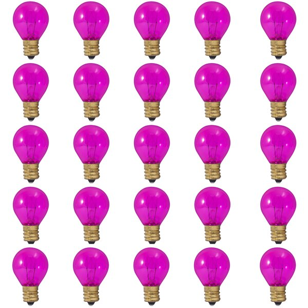 10W E17 Dimmable Incandescent Light Bulb Transparent Pink (Set of 25) by Bulbrite Industries