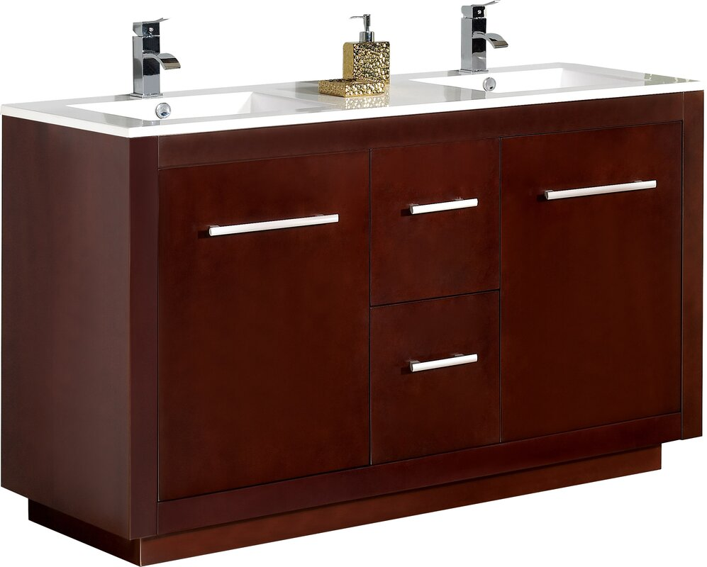 double vessel venica bathroom cabinet teak sink vanity natural