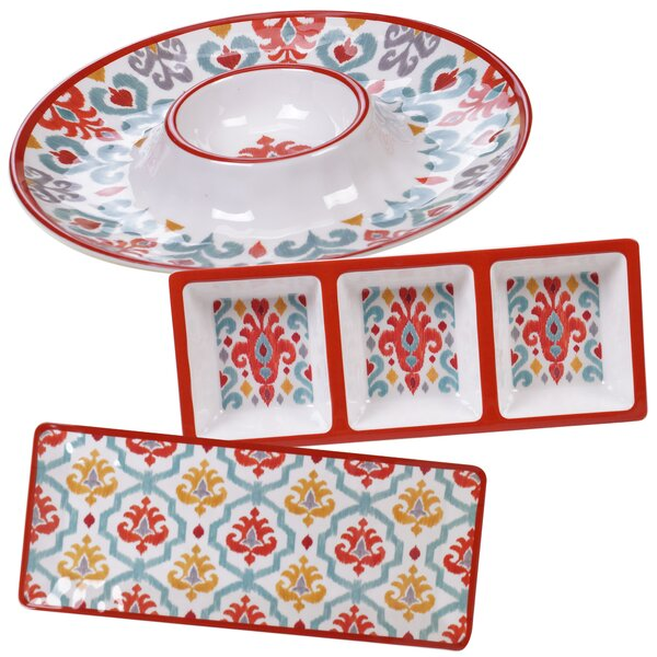 Simen 3 Piece Melamine Platter Set by Bungalow Rose