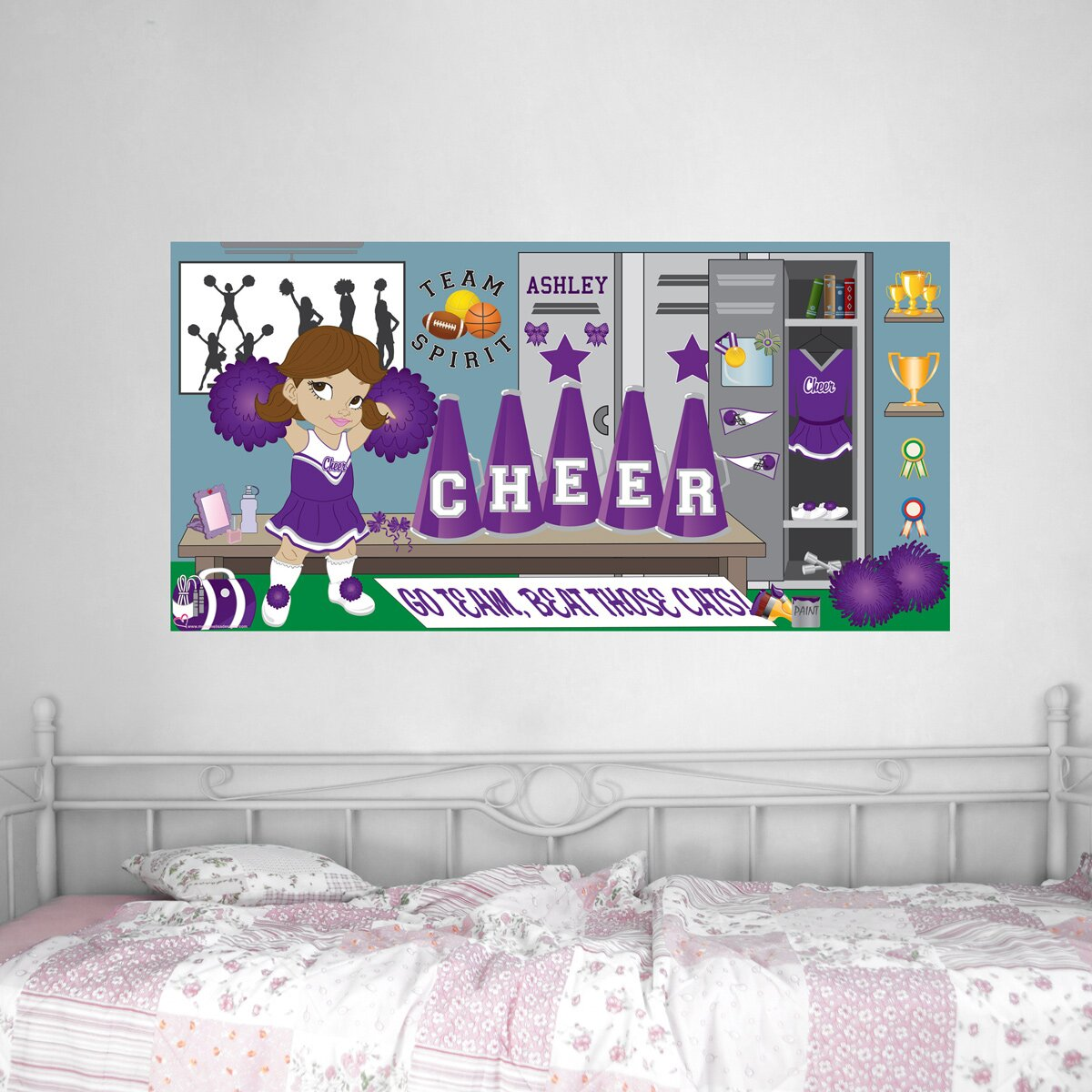 Mona melisa designs cheerleader hanging wall mural for Cheerleader wall mural