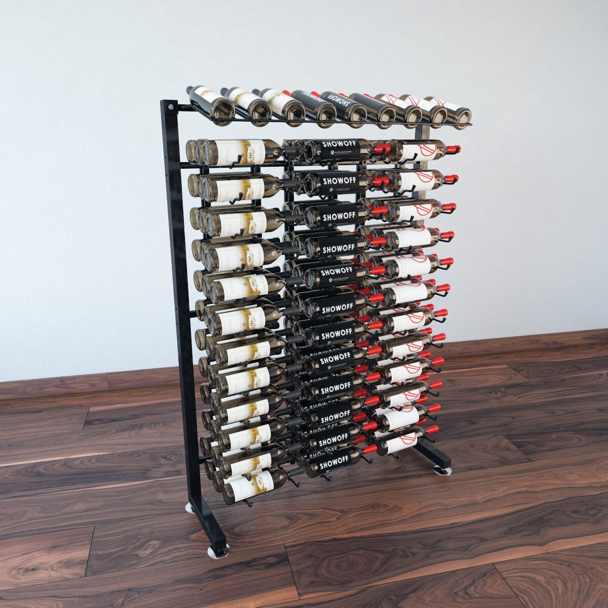Vintageview idr series 117 bottle floor wine rack wayfair for Floor wine rack