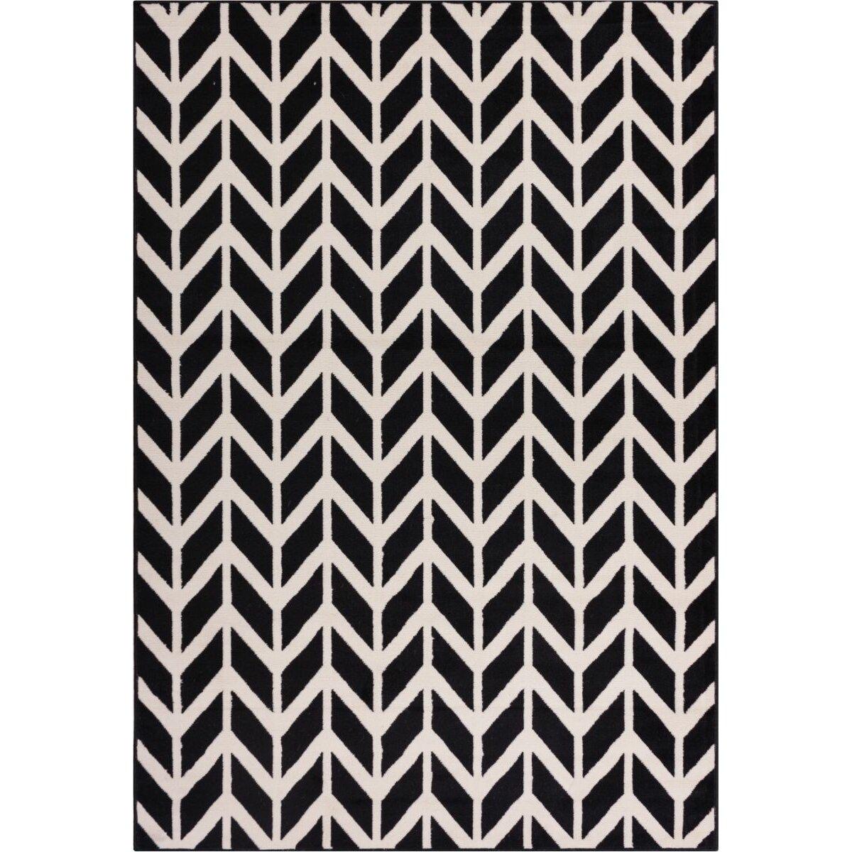 Black And White Chevron Bathroom Rug: Mercury Row Shuster Bourban Chevron Black/White Area Rug