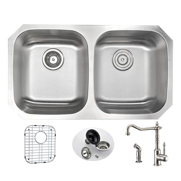 Moore 32.25 L x 18.5 W Double Bowl Undermount Kitchen Sink with Faucet by ANZZI