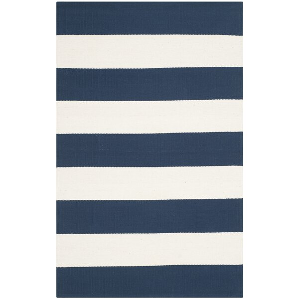 Brookvale Hand-Woven Cotton Navy/Ivory Area Rug by Beachcrest Home
