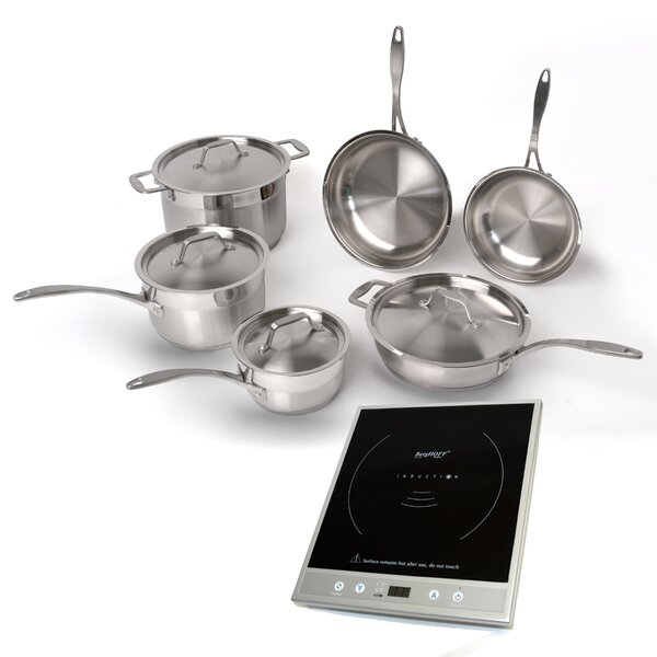 EarthChef 6-Piece Professional Cookware Set with Silver Induction Stove by BergHOFF International