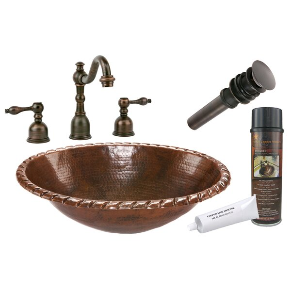 Roped Rim Metal Oval Drop-In Bathroom Sink with Faucet by Premier Copper Products