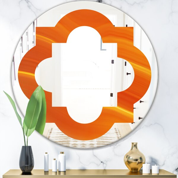 Quatrefoil Agate in Wave Pattern Modern Frameless Wall Mirror