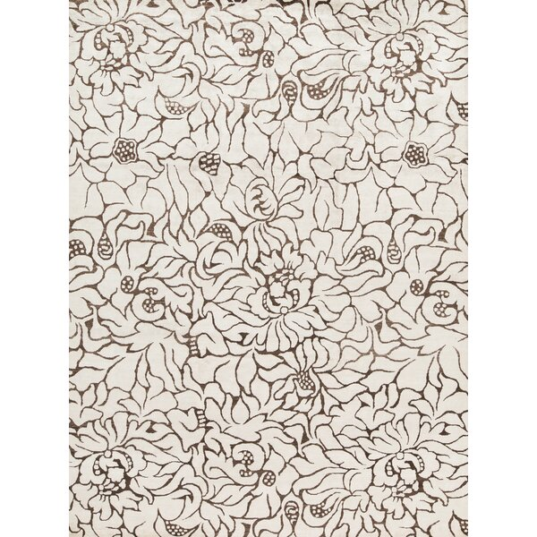 Hand-Knotted White/Brown Area Rug