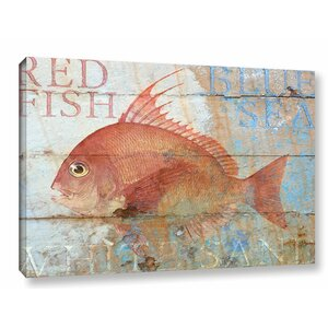 'Fish on Wood' Graphic Art on Wrapped Canvas by Breakwater Bay