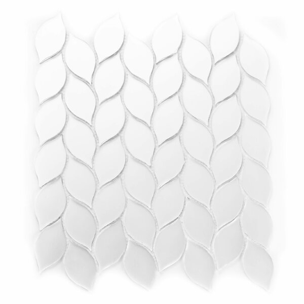 Musico Leaf Waterjet Glass Mosaic Tile in Silver by Abolos