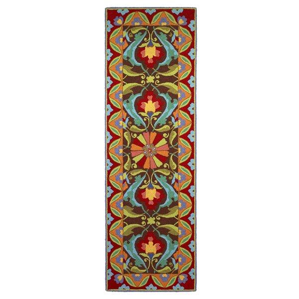 Porcelain Oriental Hand-Hooked Wool Mocha Area Rug