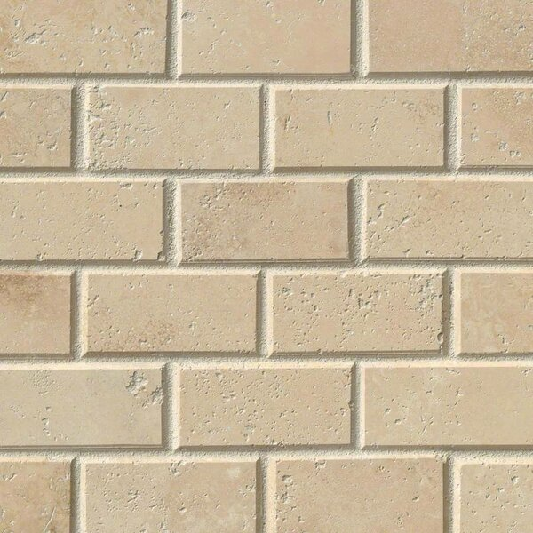 Durango Honed And Beveled 2 x 4 Travertine Mosaic Tile in Beige by MSI