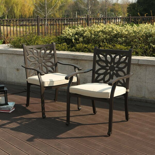 Outdoor Patio Dining Chair with Cushion (Set of 2) by PHI VILLA PHI VILLA
