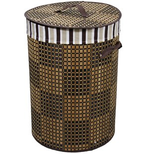 Affordable Checkered Round Folding Laundry Hamper By ORE Furniture