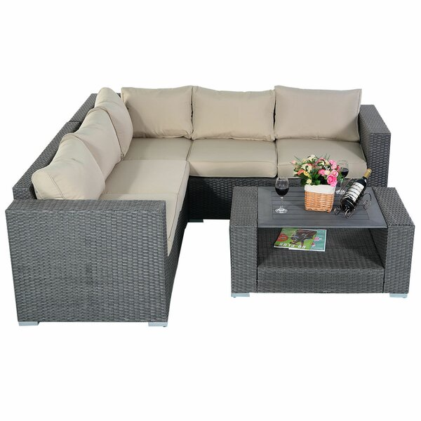 Ellaruth 4 Piece Rattan Sectional Seating Group with Cushions by Latitude Run