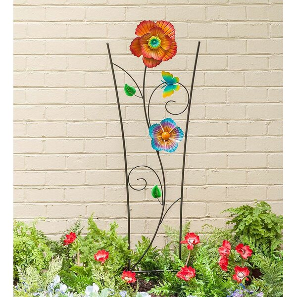 Spinning Flower Garden Metal Fan Trellis by Plow & Hearth