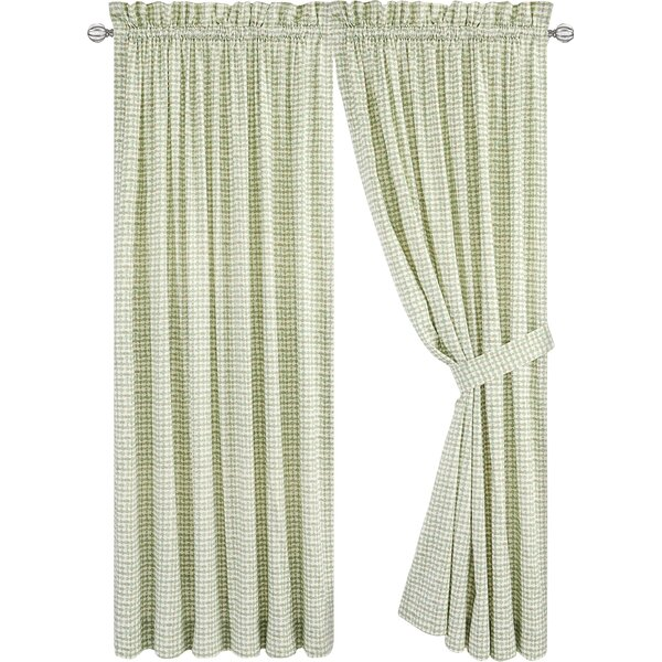 Brandon Tailored Plaid & Check Semi-Sheer Rod Pocket Curtain Panels (Set of 2) by Langley Street