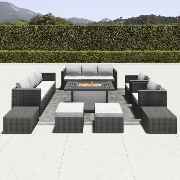 Damiansville 12 Piece Rattan Seating Group with Cushions by Latitude Run