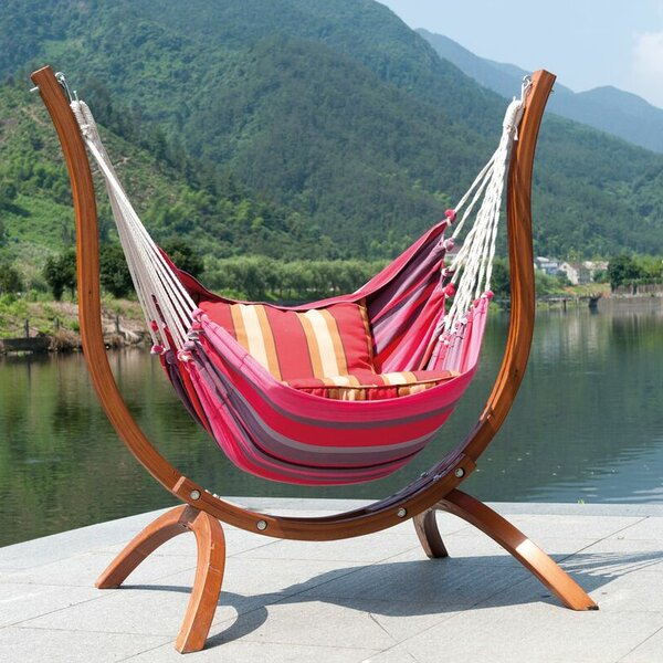 Patagonia Wooden Striped Nylon Tree Hammock by SunTime Outdoor Living
