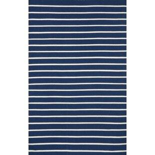 Ranier Pinstripe Hand-Woven Navy Indoor/Outdoor Area Rug