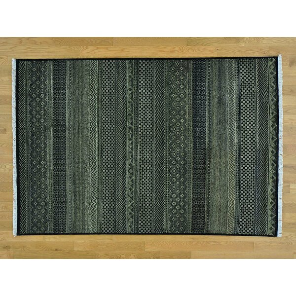 One-of-a-Kind Becker Grass Design Hand-Knotted Black Wool Area Rug by Isabelline