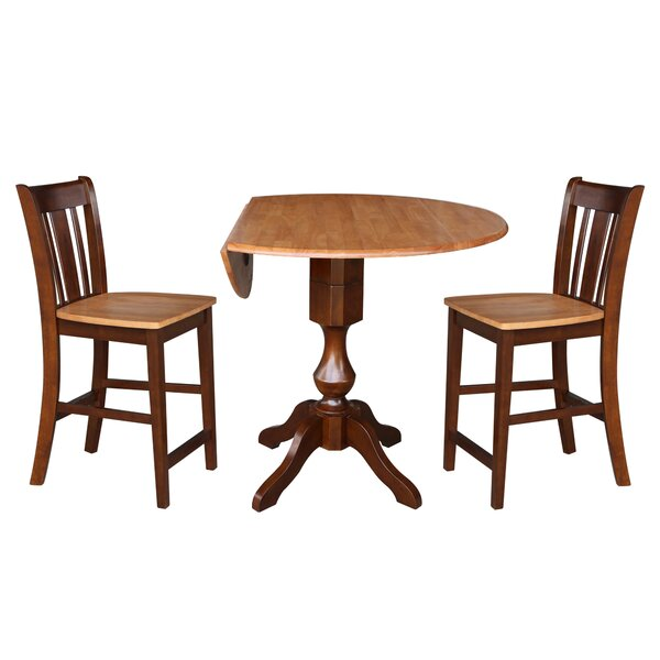 Atalaya Round Top Drop Leaf Pedestal 3 Piece Adjustable Pub Table Set by Alcott Hill