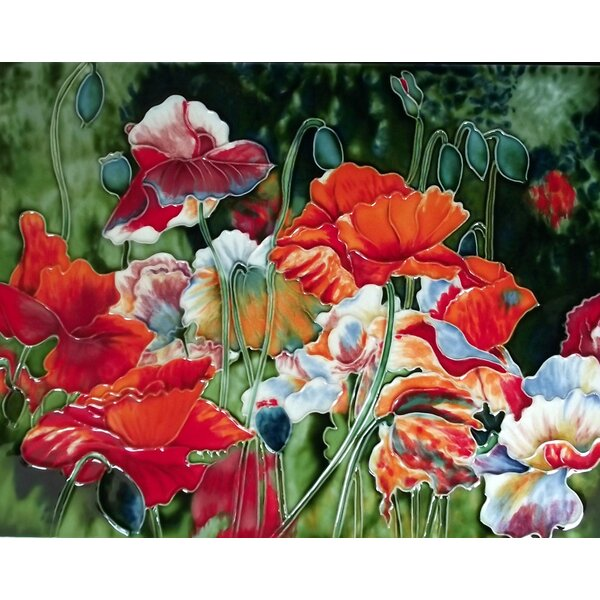 Poppy Flower Field Tile Wall Decor by Continental Art Center