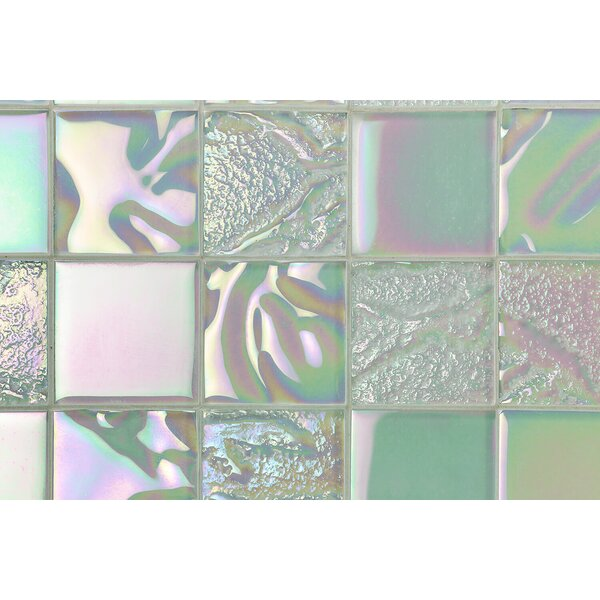 Marina Iridescent 3 x 3 Glass Mosaic Tile in White by Splashback Tile