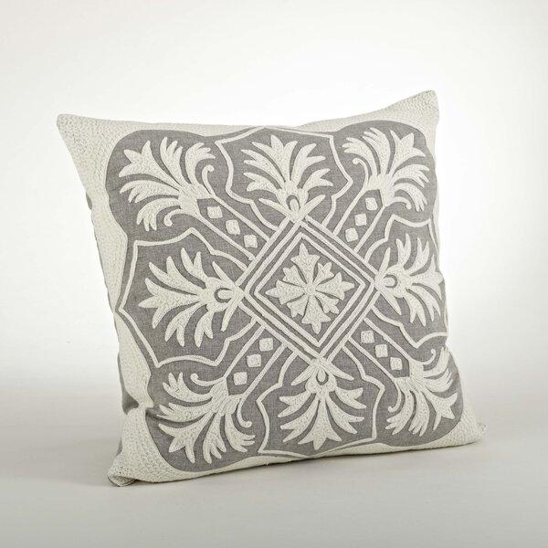 Gabriela Embroidered Cotton Throw Pillow by Saro