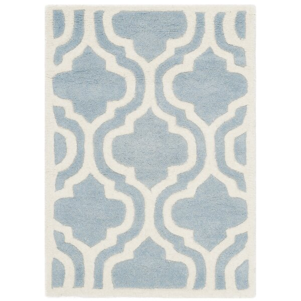 Wilkin Moroccan Hand-Tufted Wool Blue/Ivory Area Rug by Wrought Studio